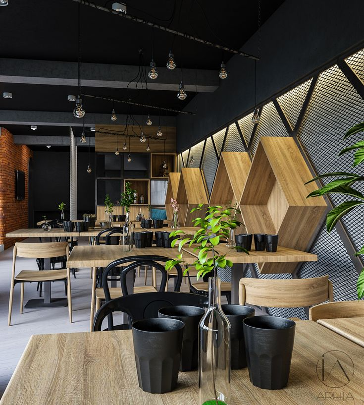 Pub design ❤️ @arhia_architecture design lovers greenwall restaurant design industrial bar lighting decorated wall