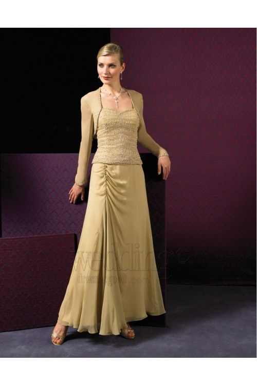 Plus Size Gold Gown Evening Dress Long Sleeves