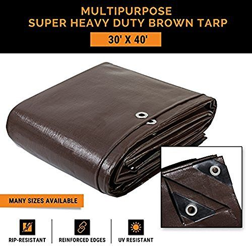 30′ x 40′ Super Heavy Duty 16 Mil Brown Poly Tarp Cover – Thick Waterproof, UV Resistant, Rot, Rip and Tear Proof Tarpaulin with Grommets…