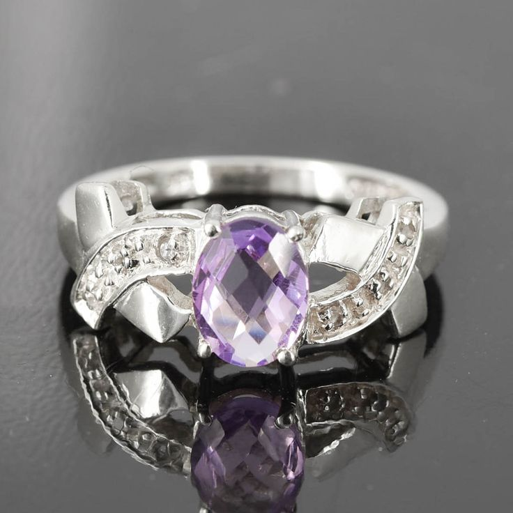 Amethyst Ring, Purple, Oval, Birthstone Ring, February, Gemstone Ring, Sterling Silver Ring, Solitaire Ring, Statement Ring by JubileJewel on Etsy