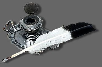 PHOTO: Quill pen and pewter inkwell