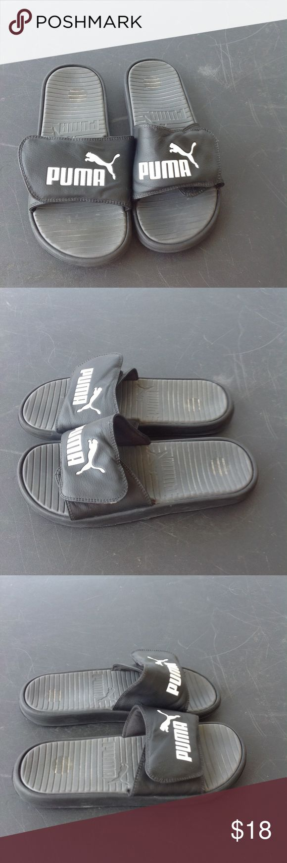 Mens puma sandals. They are a size 8, color is black, in great worn condition, sale is final i do not a accept returns., Puma Shoes Sandals & Flip-Flops