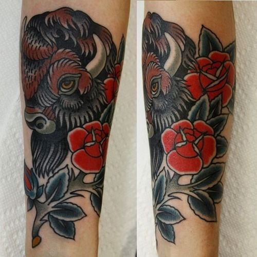 American bison tattoo for Traditional bison tattoo