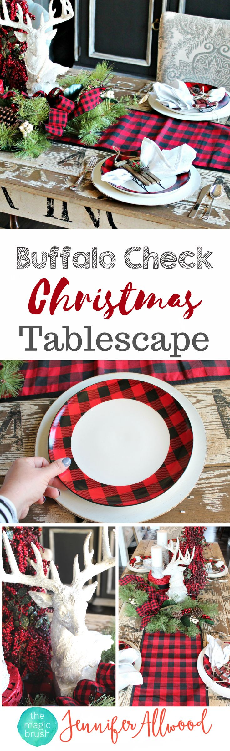 Buffalo Check Christmas Decorating by theMagicBrushinc.com. This beautiful plaid tablescape cost less than $100 from Hobby Lobby. Love these Tartan Christmas Decorating Ideas!