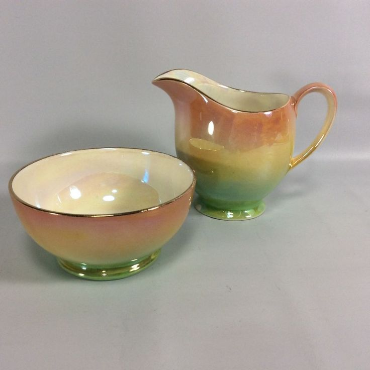 Royal Winton Grimwades Pink Green Yellow Ombre Lustre Cream and Sugar Set READ #RoyalWinton #ArtDeco