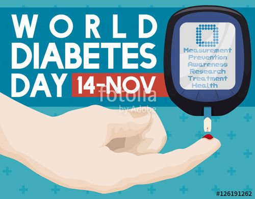 Hand with Glucometer to Test Glucose Level in Diabetes Day