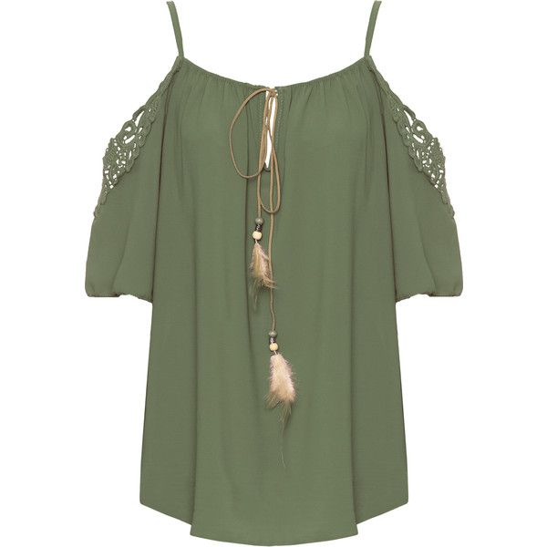 Dodie Crochet Cold Shoulder Boho Top (38 CAD) ❤ liked on Polyvore featuring tops, green, green top, cut out top, gypsy top, boho crochet top and strappy top