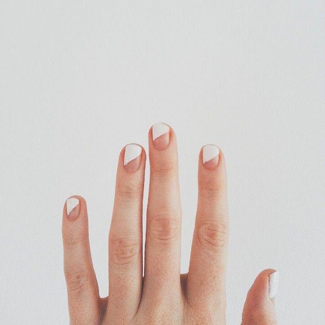 asymmetric white tips // nail art