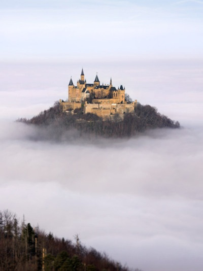 castle in the clouds  Hohenzollern Castle   Stuttgart, Germany.  I could see this from my run every day:)