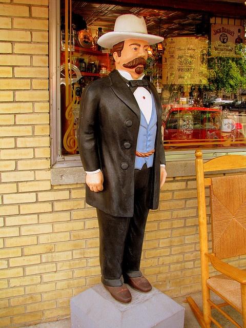 Jack Daniels Statue in front of souvenir store~Visit~Jack Daniels Distillery~Lynchburg, TN