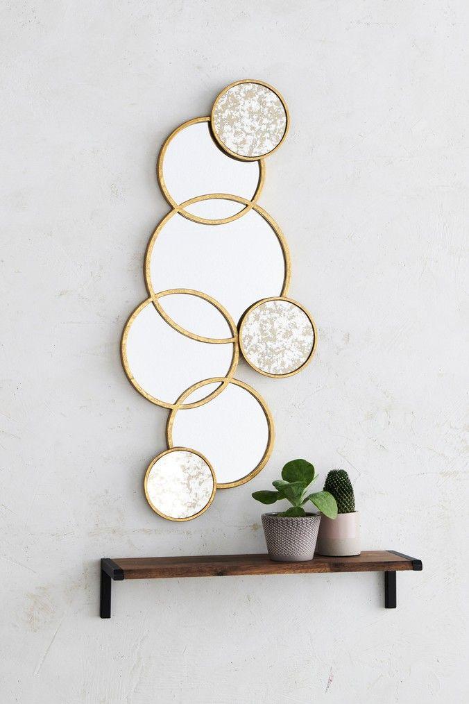 Gold Circle Mirror, Gold Circles Mirror Wall Decoration