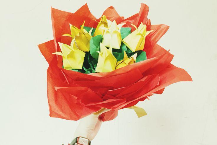 Yellow tulip origami bouquet