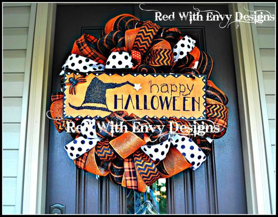 Halloween Wreath Deco Mesh Wreath Mesh by RedWithEnvyDesigns, $115.00