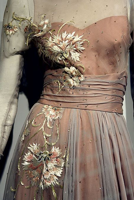 A close up of the embroidery on Grace Kelly's Helen Rose designed evening gown from High Society.