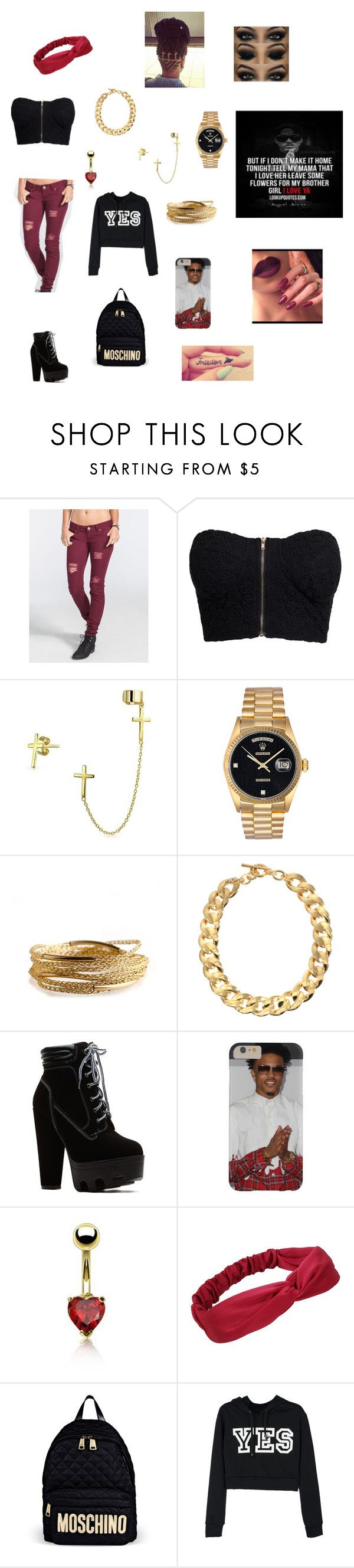"""August Alsina Concert"" by lovebreezybaby ❤ liked on Polyvore featuring beauty, RSQ, NLY Trend, Bling Jewelry, Rolex, YooLa, Michael Kors and Moschino"