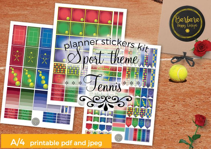 Sport Tennis Planner Sticker Kit - Decorations Sport Tennis theme - Planner - Happy Planner stickers di BarbaraHappyDesign su Etsy