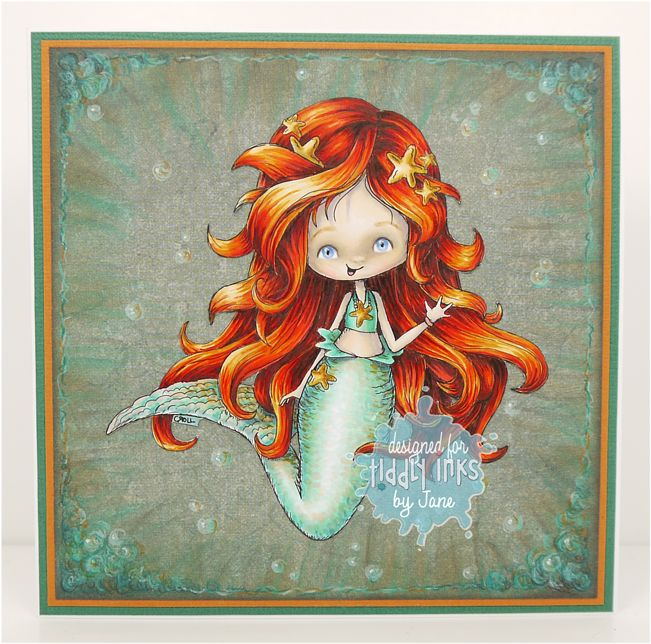 Wryn the Mermaid by Tiddly Inks DP from stash Additional bubbles doodles in Caran D'Ache Pablos pencils Chalk ink Copics........ Hair: YR18, YR07, YR12, YR20, YR21, YR27, R27, R39, W6 Skin: E0000, E000, E00, R20, V20, BG70, E40, E41, E42 Tail: BG10, BG11, BG13, YR20, W4, YR21, YR12