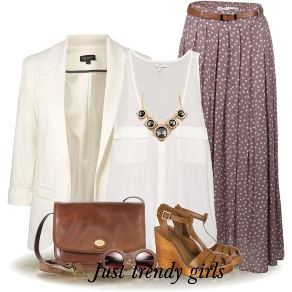 amazing maxi skirt... white blazer cute brown wedges spring or Sumner outfit #church oufit