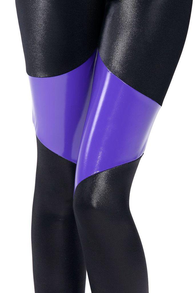 L Spartans Purple PVC Leggings - Discontinued/Museum