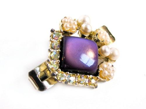 Vintage Purple Aurora Borealis Rhinestone Hair Clip by MyChouchou, $9.50