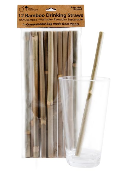 1 Billion plastic drinking straws are used daily worldwide. Bamboo Drinking Straws are a natural alternative to plastic! Washable, reusable, and made from 100% real whole bamboo stalks. Packaged in a biodegradable bag made from plant starch, with a tag made from recycled paper.
