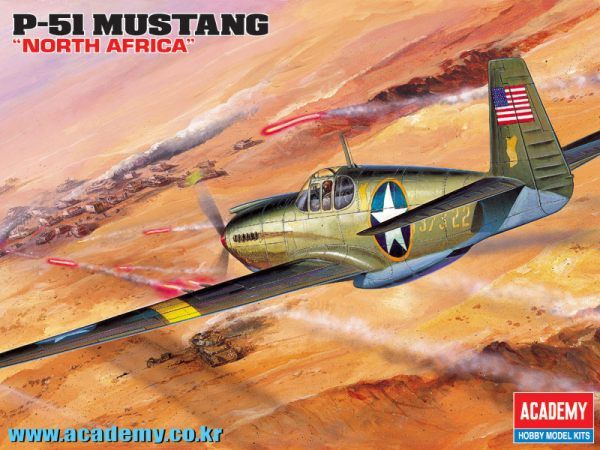 "North American P-51 Mustang ""North Africa"" with Allison engine. Academy, 1/72, injection, No.12401. Price: 8,99 GBP."