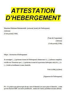 attestation d'hébergement doc | Attestation hebergement, Attestation, Marketing relationnel
