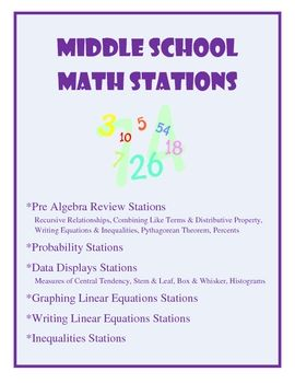 EThis 76 page packet includes 6 stations for the middle school math