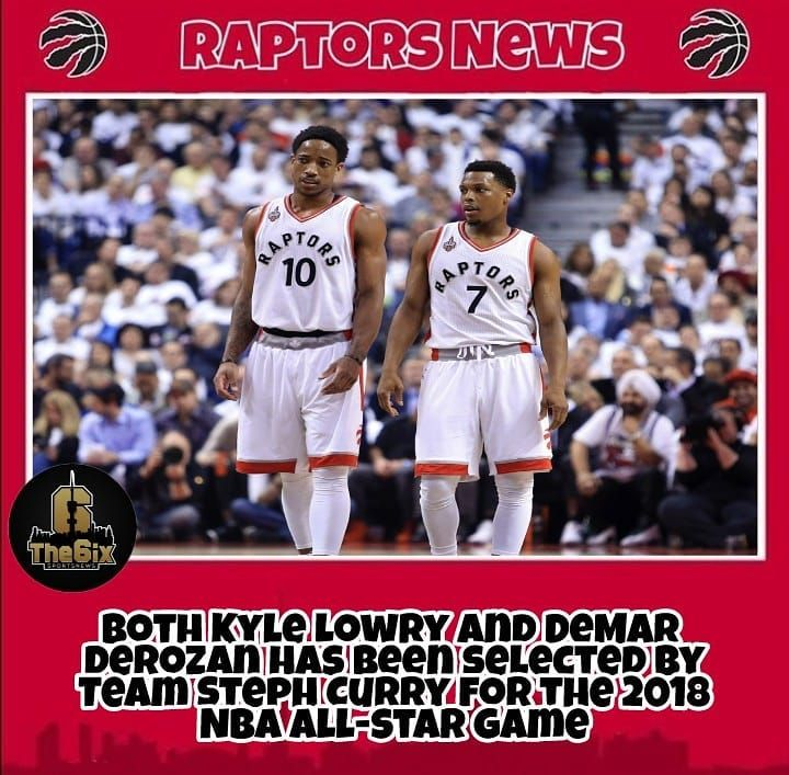 REPORT: Both Kyle Lowry and DeMar DeRozan has been selected by Team Steph Curry for the 2018 NBA all-star game. . . . . #warriors #nba #basketball #nyknicks #knicks #raptors #torontoraptors #celtics #bostonceltics #sixers #philadelphiasixers #nets #lbj #playoff #heatnation #letsgoheat #ilovethisgame #slam #court #myteam #rockets #ballers #buckets #baloncesto #streetball #ballup #nbamemes #pelicans #hornets #mavericks