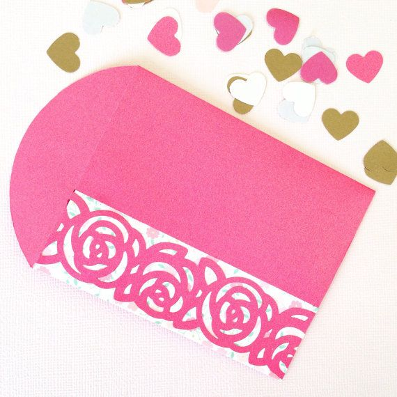 Rose bordered Red Packets / Envelopes in Pink and by FromUrsTruly