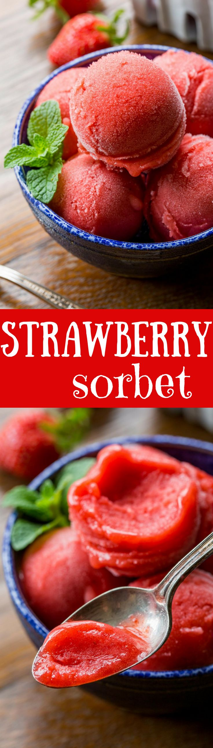 a simple, easy & delicious sorbet made with only 3 ingredients right in your blender then processed in an ice cream maker.