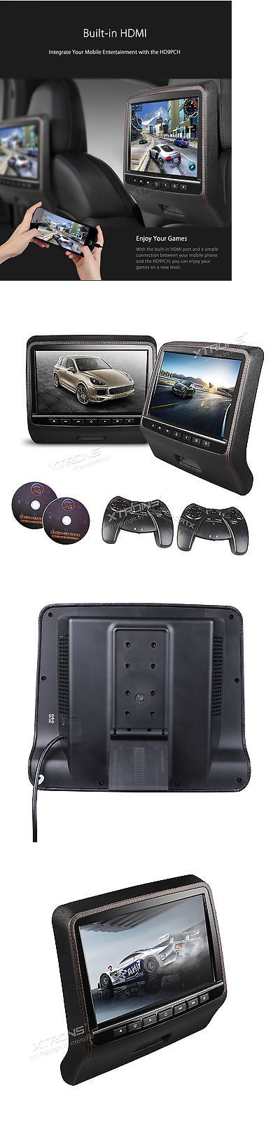 7 Ultra thin Car Headrest Monitors w DVD Player USB HDMI+Games Gray Monitor