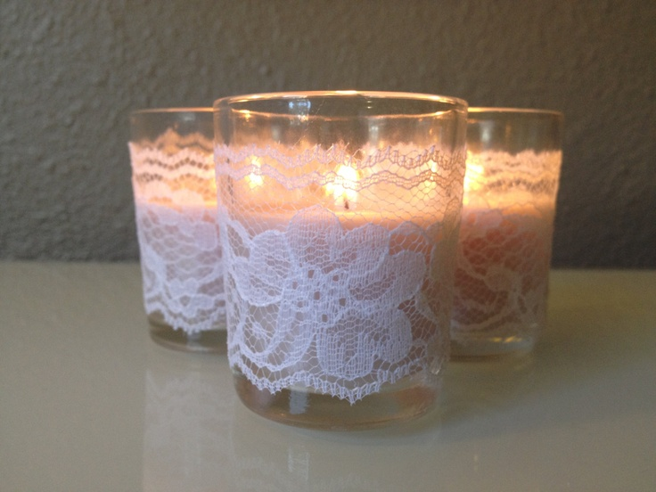 Lace Candle Votives Wedding - set of 50 - Decorations Favors Rustic Vintage Barn Farm baby shower weddings birthday party. $62.50, via Etsy.