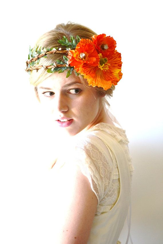 Orange Wedding Flower Wreath Hair Accessories By Hazelfaire 6500 Summer Handfasting