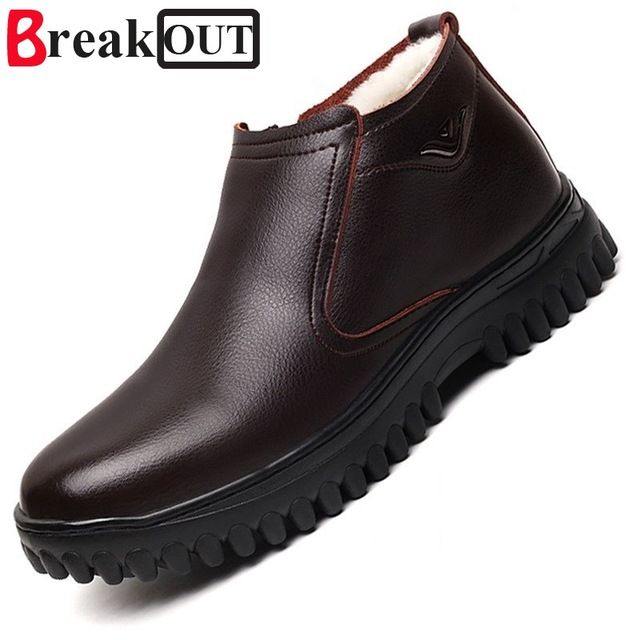 Promotion price Break Out New Quality Men Winter Boots Snow Boots for Men  Genuine Leather Wool