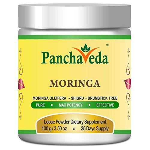 Panchaveda Moringa Leaf Powder Organic, Ayurvedic, Herbal, Natural Superfood Supplement. Moringa Oleifera Shigru Churna For Diabetes, Blood Circulation, Weight Loss, Stress, Bones, Joint Pain & Aches