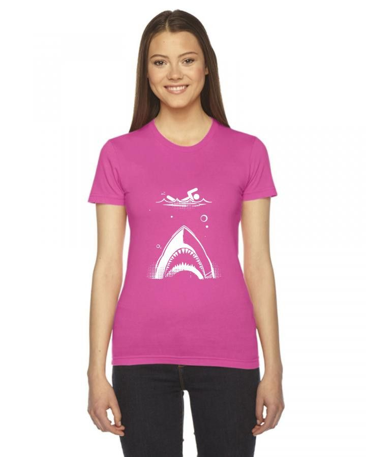 shark attack swimmer Ladies Fitted T-Shirt