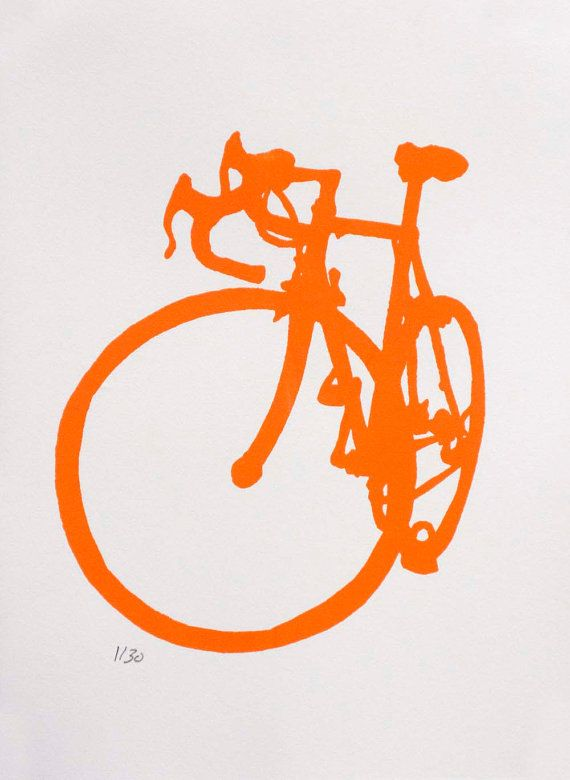 Bicycle Art  Orange Road  Bike Print by bicyclepaintings on Etsy, $30.00