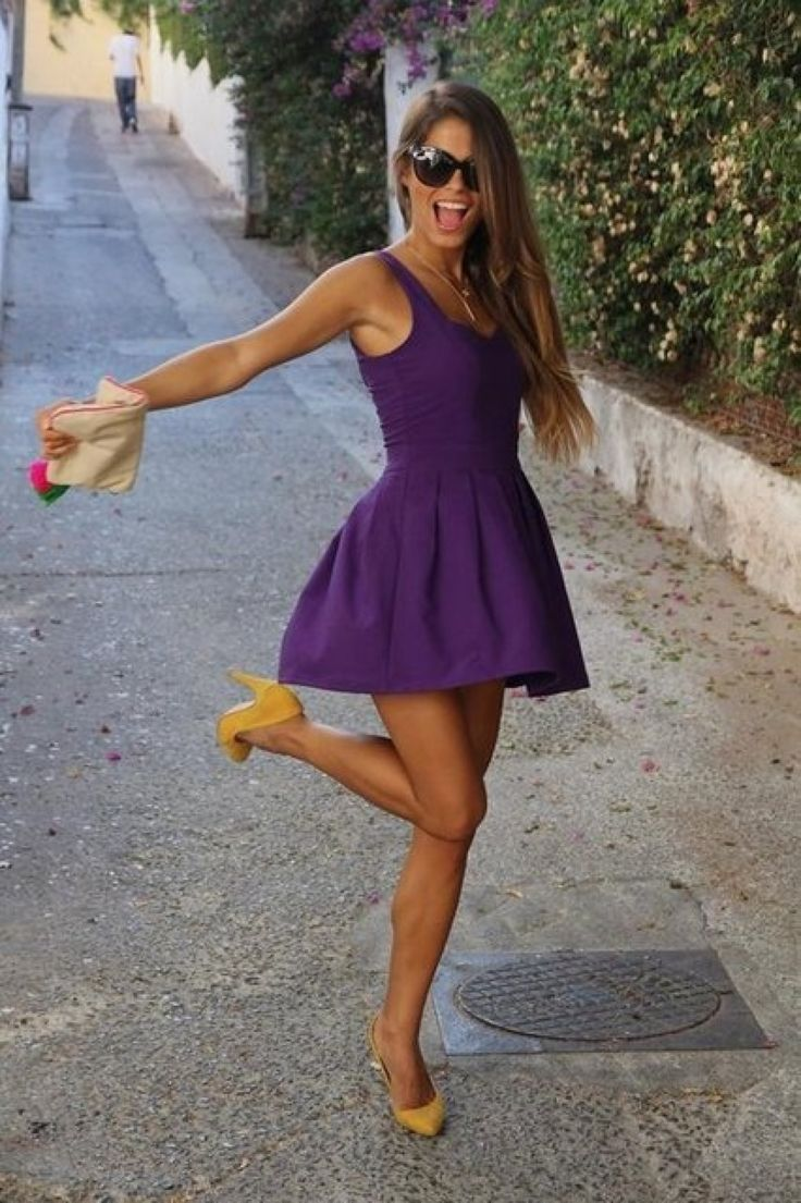 love the true purple and the flare of this skirt (and that it's not strapless - flattering and cute, fun and classy) Love the purple color