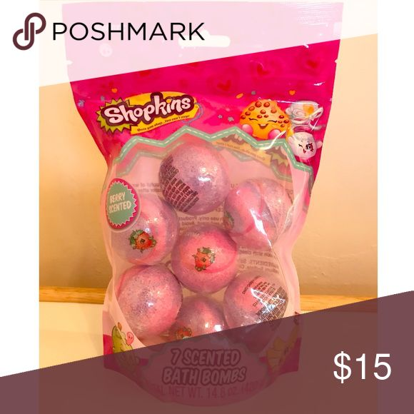 New Shopkins Berry Bath Bombs New Shopkins Berry scented Bath Bombs. New bag sealed. Comes with 7 balls in package. Nontoxic shopkins Other