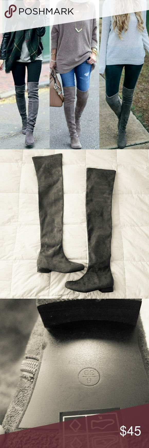 Grey Suede Thigh High Boots