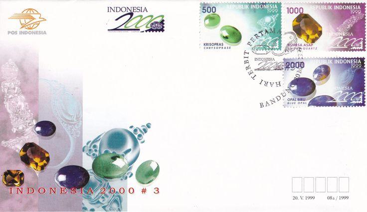 FDC Indonesia 2000 #3 Seri Batu Mulia (Gemstones) terbitan 1999