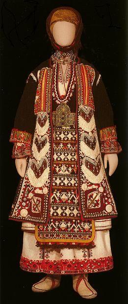 Traditional Greek Thracian folk costume from Makra Gefyra displayed in the Benaki Museum in Athens, Greece.