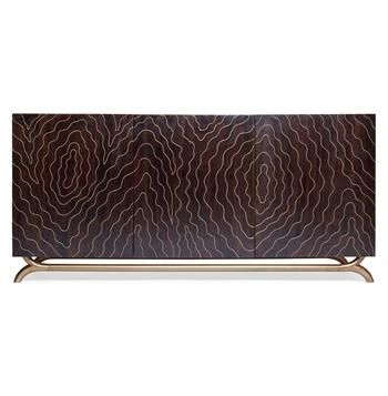 Brass Inlay Hollywood Regency Faux Bois Contemporary Media Cabinet. #kathykuohome #cabinet #HollywoodRegency