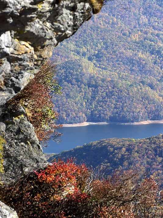 Asheville's beautiful North Fork Reservoir ... one of the best and cleanest water supplies in the country, sited in a 20,000-acre protected watershed area adjacent to the Blue Ridge Parkway (Telephoto detail seen from Craggy Gardens on the BRP) | Citizen-Times photo