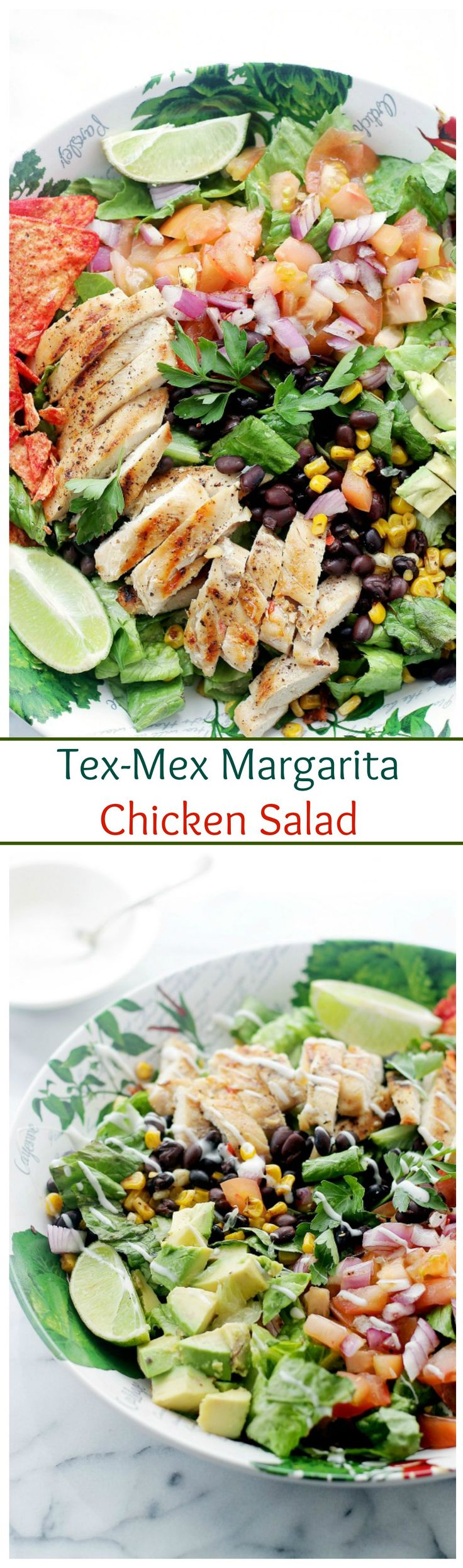 Tender chicken marinated in flavors of margarita mix and lime, served atop a beautiful, colorful tex-mex salad.