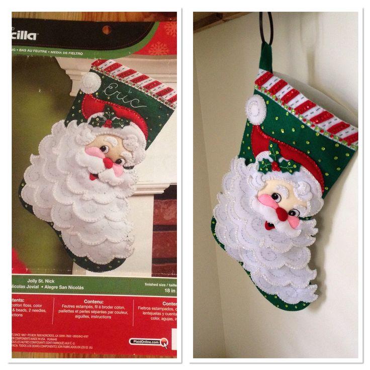 #Bucilla #Jolly St. Nick #Felted Appliqué #Christmas stocking #perk studios