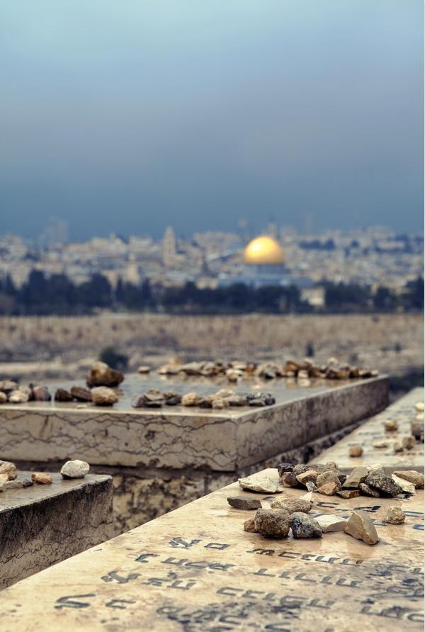 Jerusalem, view from the Mount of Olives-Instead of flowers, they leave small rocks on graves <3
