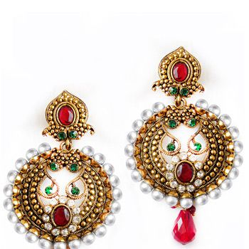 Maroon and Green Stone Studded Earring