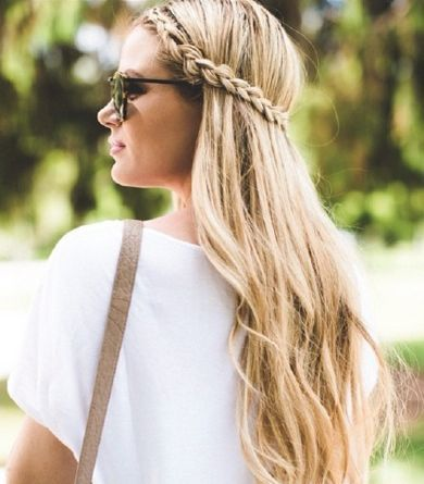 Long Hair Women's Styles : Long beachy waves are perfect w/ this no fuss braided hairstyle. Barefoot Blonde